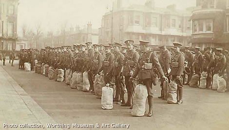 WW1 soldiers assembled in a street in Worthing