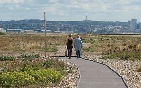 Shoreham Beach Boardwalk - looking east