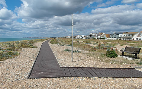 Shoreham Beach Boardwalk - looking west