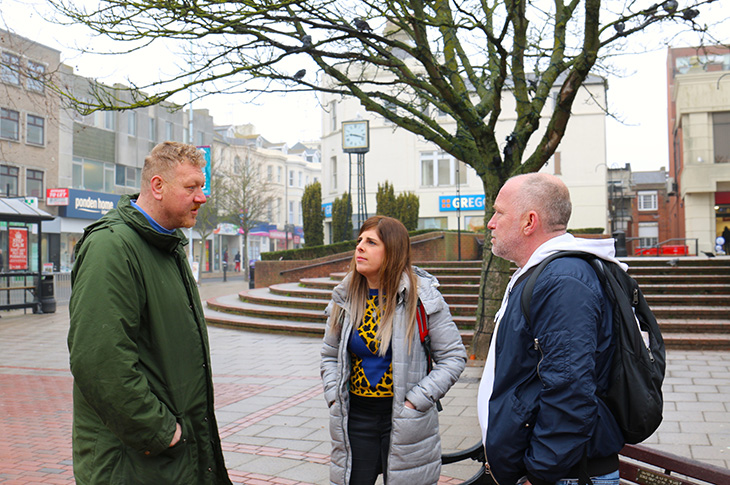 2019-03-11 - Carl Sutherland (right) and Georgina Beauman (centre) talking with a rough sleeper in Worthing town centre