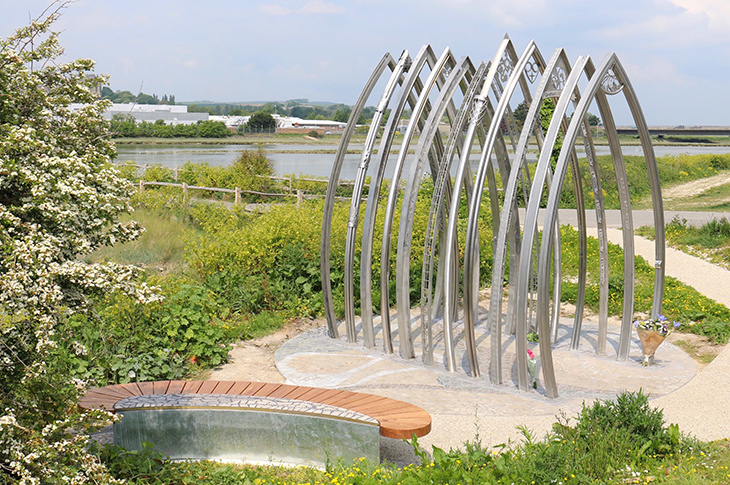 PR19-082 + PR19-165 - A memorial bench and 11 individually crafted arches sit alongside the River Adur in Shoreham