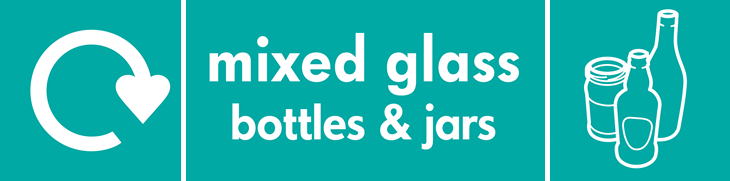 Mixed Glass bottle and jars (WRAP logo banner)