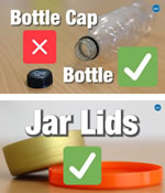 Smaller plastic bottle tops CANNOT be recycled (but bottles can) but larger plastic jar or tin lids CAN be recycled