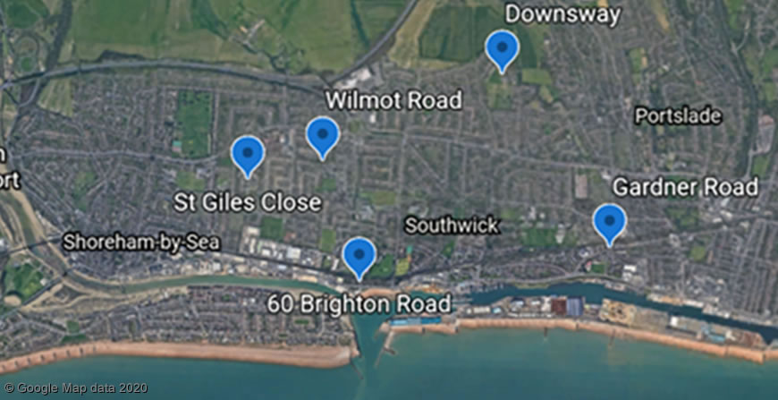 Adur Garage sites map - east (Shoreham-by-Sea and Southwick)