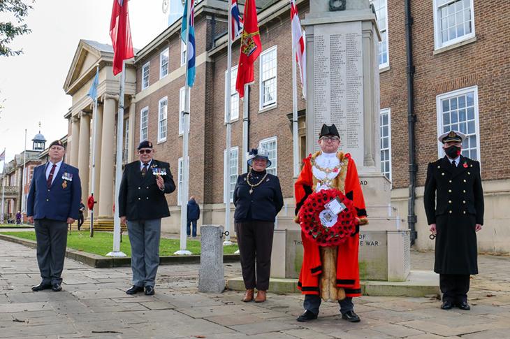 PR20-137 - The Mayor and Mayoress of Worthing pictured with Steve Hinton from the Worthing Veterans' Association, Parade