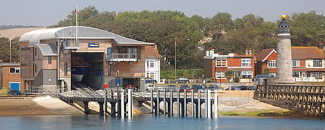 RNLI lifeboat station and lighthouse on River Adur